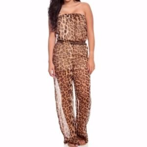 Leopard Print Strapless Belted Long Jumpsuit $25